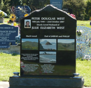 Mountain Headstone with Photo Panels